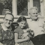 With my grandmother and grandfather at the dacha, 1964