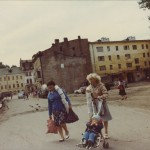 Lucky shoppers leaving a line for toilet paper. Leningrad, 1982
